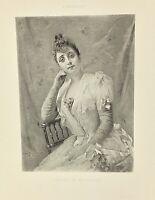 Gravure ancienne à l'eau forte XIXe- A BROUILLET «Mlle DARLAUD» salon 1888