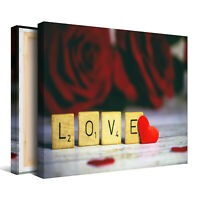 Love from Scrabble with Red Roses Framed Canvas Picture - Wall Art Print