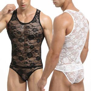 Sexy Mens Underwear Set Lace Sheer Tank Tops Vests Gay Jockstrap Boxer Briefs XL