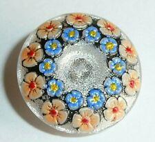 """Beautiful Hand Painted Flowers Czech Glass Shank Button 7/8"""" Blue & Yellow +"""