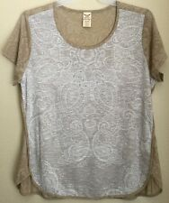 WOMENS PLUS SIZE 2XL (20) TEE Burnout Top Shirt Brown/beige Soft New With Tags