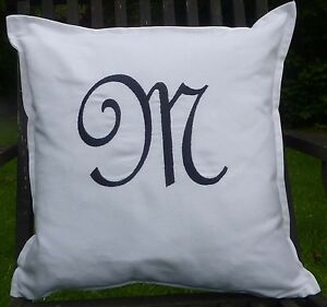 French Script letter 'M' Personalised white cushion with inner pad