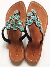 MYSTIQUE Leather Green Jeweled Triangle Thong Sandals Size 6 NWOB
