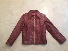 "Vtg Auth East West Musical Instruments leather jacket ""West Wind"" 70's hippie"