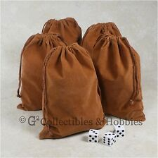 """NEW 5 Dice Bags 5"""" x 7"""" Brown Velveteen Cloth Bag Set RPG D&D Game Counter Pouch"""