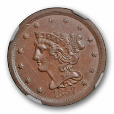 1857 Braided Hair Half Cent NGC MS 62 Uncirculated Key Date Original