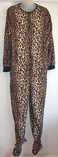 Nick Nora XL Footed Pajamas, Leopard Cheetah Print, 1 Piece Zip Adult Fleece