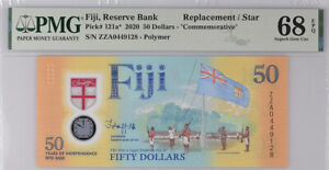 Fiji 50 Dollars ND 2020 P 121* Replacement ZZA Polymer Superb GEM UNC PMG 68 EPQ