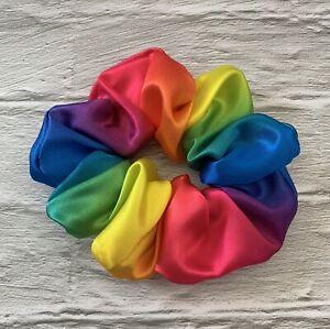 Rainbow Colour Satin Scrunchie