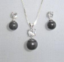 925 Sterling Silber Schmuckset Halskette Ohrringe Perle schwarz Zirkonia + Etui