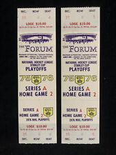 2 x 1975-76 NHL LOS ANGELES KINGS vs ATLANTA FLAMES PLAYOFFS FULL UNUSED TICKETS