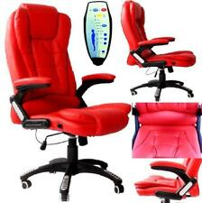 New Red Faux Leather Office Massage Computer Desk Reclining Chair Swivel