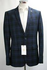 Men's Farah Blue and Black Checked Party Blazer (36R)..Sample 4299