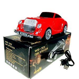 Classic Vintage Radio RED Color Car Speaker,TF Card & MP3 Audio Speaker,WS-313