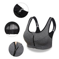 Women Front Zip Wireless Padded Cup Sports Bra High Impact Gym Active Tank Tops