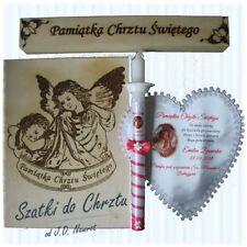 Spersonalizowana szatka i świeca z pudełkiem do Chrztu ze zdjęciem lub haftem