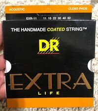 """DR """"EXTRA LIFE"""" EXR-11 CLEAR Phosphor Bronze ACOUSTIC GUITAR STRINGS .011 -.050"""