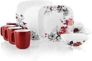 Corelle Boutique Square Chelsea Rose 16-Piece Chip Resistant Dinnerware Set