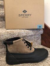 Sperry Womens Saltwater Wedge Tide Rain Tan Black Boots Size 8 Medium New In Box