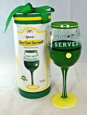 """Epic Wine Accessories - """"You Got Served"""" Hand Painted Wine Glass (Sports)"""