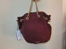 Rebecca Minkoff Flatter Drawstring Burgundy purse gold 10OISUCF22-609 Suede NEW