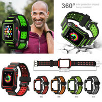 Sport Silicon Apple Watch Band Series 4 44mm 40MM With Rugged Protective Case