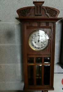 Lovely Waring & Gillows (London) H.A.C. Oak Striking Wall Clock w/Key