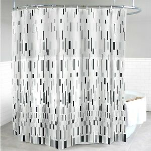 "New Splash Home Grey bars Shower Curtain 70 x 72"" Metal Grommets"