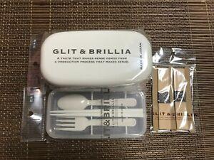 Japanese Bento Lunch Box & Belt 2 tier & Utensil Set White  *Made in Japan*