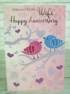 With Love To My Wife, Happy Anniversary Greetings Card, Birds, Heart, Glitter
