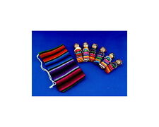 """LARGE Guatemala WORRY DOLL POUCH with 4  2"""" dolls"""