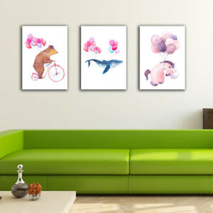 3 70×100×3cm Animal Balloon Canvas Prints Framed Wall Art Home Decor Gift