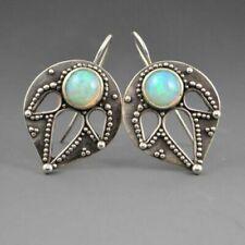 Unique New Silver Fashion Jewelry Opalite Leaf Design Hook Dangle Drop Earrings