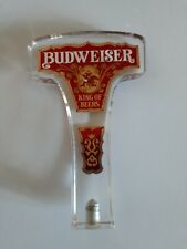 Budweiser Beer Clear Red Acrylic Tap Handle Keg Pull Anheuser Busch Vintage