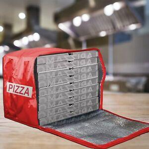 Zaino Borsa Termica Portapizza Porta Pizza da Asporto Chiusura a Zip Rosso o Blu