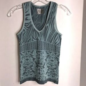 Athleta Zebra Paisley V Neck Knit Tank Top Size Small Style 43009 Blue Grayish