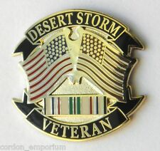 Operation Desert Storm Gulf War Veteran USA Flag Lapel Pin Badge 1 inch