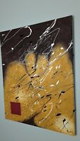 """TRIPLE7STUDIO Abstract acrylic painting on canvas 16x20"""" Mercado Black Brown Red"""