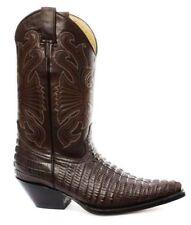Grinders hombre Cuero Marrón Carolina Cola de arranque botas de vaquero occidental de cocodrilo