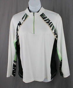 Tail White Mint Black Print Long Sleeve  1/4 Zip Pullover Athletic Top SZ 2XL