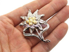 """WWII German Officer Edelweiss Mountain Metal Cap Hat Badge Pin Insignia 2"""" *1.5"""""""
