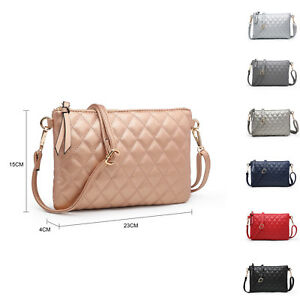 Diamond-Quilted Messenger Cross Body Bag Woman Small Faux leather UK