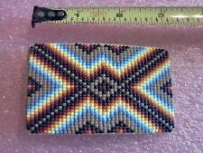 Vintage Native American Indian Leather Beaded Belt Buckle