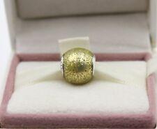 AUTHENTIC PANDORA Glitter Ball Charm, Golden Glitter Enamel, 796327EN146 #1022