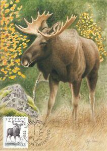 Moose Elk World Wildlife Sweden Mint Maxi Card FDC 1992