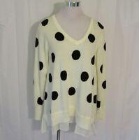 Chelsea & Theodore Womens Large Top Sweater Rhinestone Polka Dot Ivory Black $88