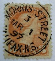 1897 CANADA 3C STAMP WITH MORRIS STREET HALIFAX NS SON CANCEL