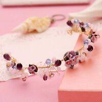 Purple Flower Handmade Pearl Tiaras Wedding Bridal Crown Elegant Beauty Princess