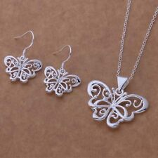 Wholesale jewelry set 925 silver plated hollow butterfly earrings necklace