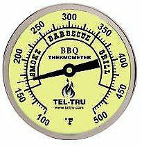 Tel-Tru Bq300 Barbecue Thermometer, 3 inch aluminum zoned dial, 4 inch stem,
